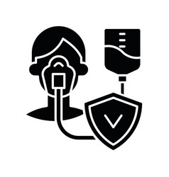 Critical illness insurance black glyph icon vector