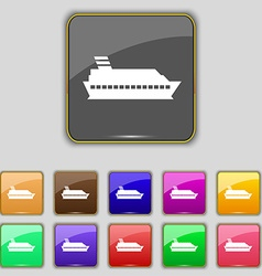 Cruise sea ship icon sign Set with eleven colored vector image