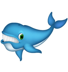cute blue whale cartoon vector image