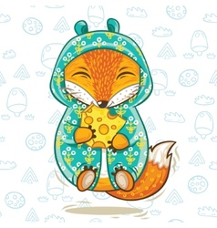 Cute fox cartoon character with a piece of cheese vector image