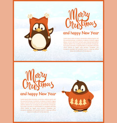 Decorated winter greeting card penguins vector