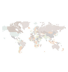 dotted world map of square dots vector image