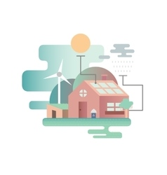 Eco house design flat vector image