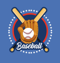 Emblem sticker to baseball sport game vector