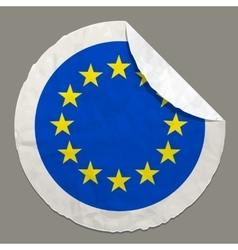 European flag on a paper label vector image