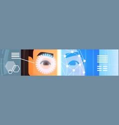 Eye retina scanning of woman face horizontal vector