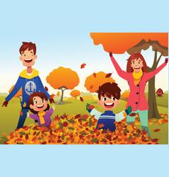 Family celebrates autumn season outdoors vector