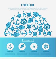 Fishing club concept in half circle vector