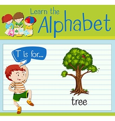 Flashcard letter T is for tree vector