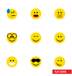 flat icon emoji set of happy joy hush and other vector image