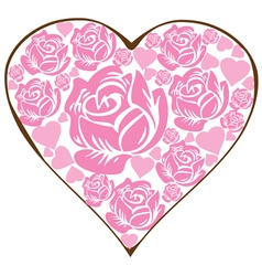 floral heart pink vector image