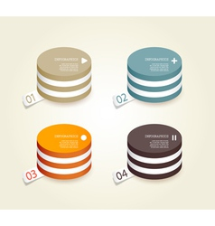 Four colored paper circles vector image
