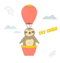 Funny sloth flying in balloon vector