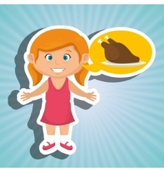 Girl cartoon chicken food vector