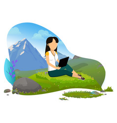 girl with tablet computer in mountains vector image