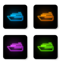 glowing neon ship icon isolated on white vector image