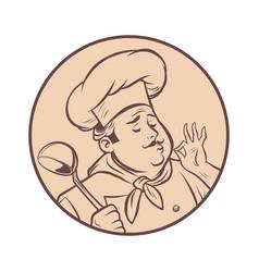 graphic silhouette cook ok gesture gourmet food vector image