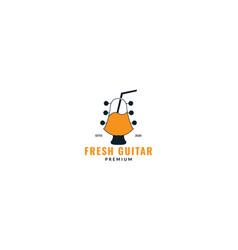Guitar fresh juice logo design vector