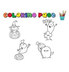 Halloween colouring cartoon vector