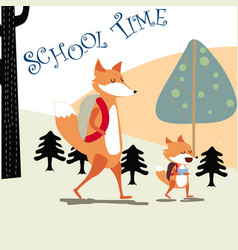 happy fox and papa back to school vector image