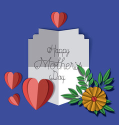 happy mothers day with floral decoration and vector image