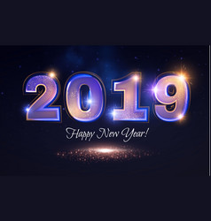 Happy new 2019 year elegant shining number vector