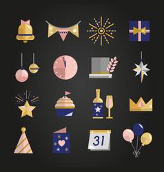 happy new year celebration set vector image