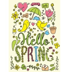 Hello spring card Hand drawn vector image