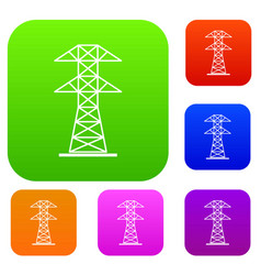 high voltage tower set color collection vector image