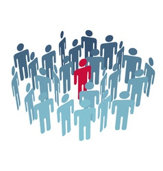 key man center figure in group company people vector image