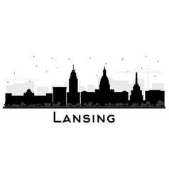 lansing michigan city skyline silhouette vector image