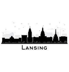 lansing michigan city skyline silhouette with vector image
