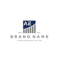 Letter ae chart financial logo design vector