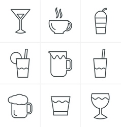 Line Icons Style Drink Icons Set Design vector image