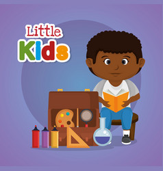 little afro schoolboy with education supplies vector image