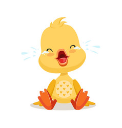 Little cartoon duckling crying cute emoji vector