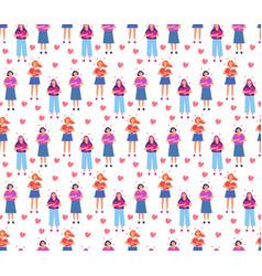love yourself girl hugs heart seamless pattern vector image