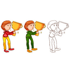 Man kissing trophy in three sketches vector