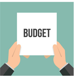 man showing paper budget text vector image