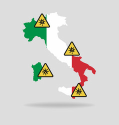 map with flag italy and pandemic stop novel vector image