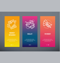 Market research wallet payment vertical cards vector