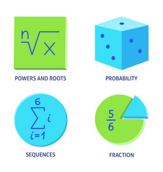 Math science icons set in flat style vector