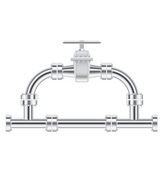 Metal chrome pipes with flange and water valve vector