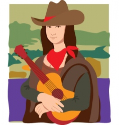 Mona Lisa cowgirl vector