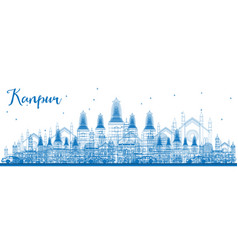outline kanpur skyline with blue buildings vector image