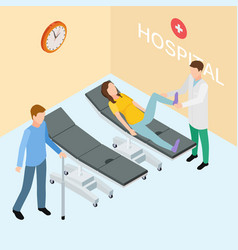 patients and doctor on hospital isometric vector image