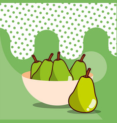 pears in bowl harvest fruit tasty dotted vector image