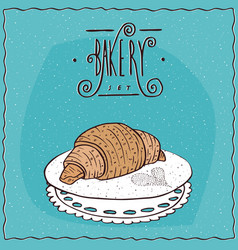 perfect croissant lie on lacy napkin vector image