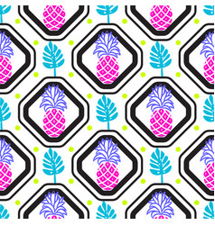 pineapples and leaves in rhombuses geometric tile vector image