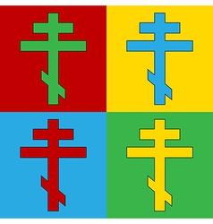 Pop art religious orthodox cross icons vector